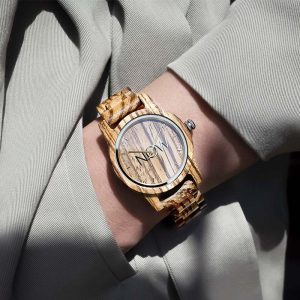 NOW wooden watch with golden now sign