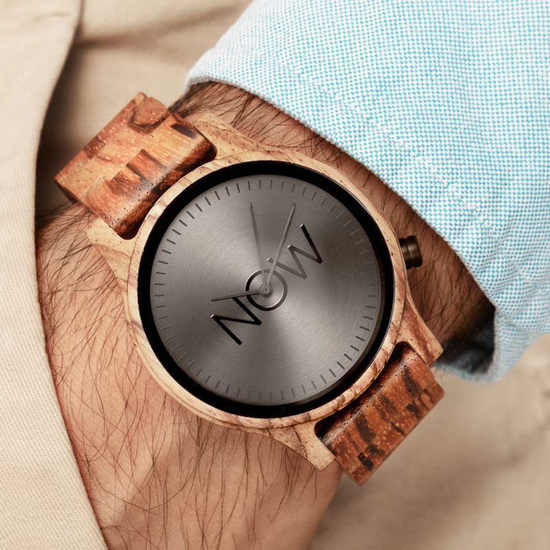 Now Watch Zebrawood wooden watch