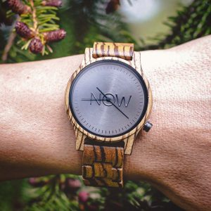 Wooden Now Watch made of Zebrawood