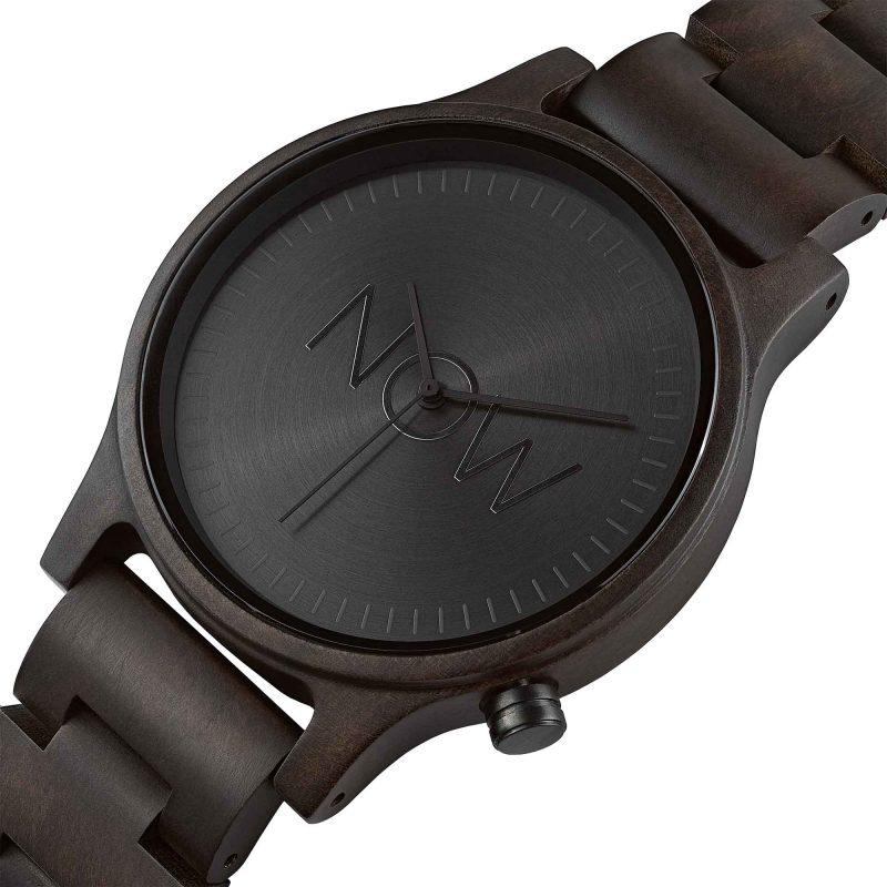 NOW watch mens wooden black sandalwood wood
