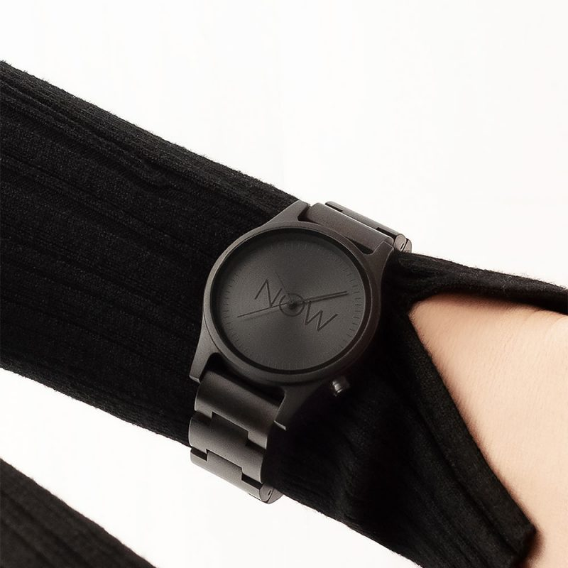 NOW Watch made of Black Sandalwood on woman's hand