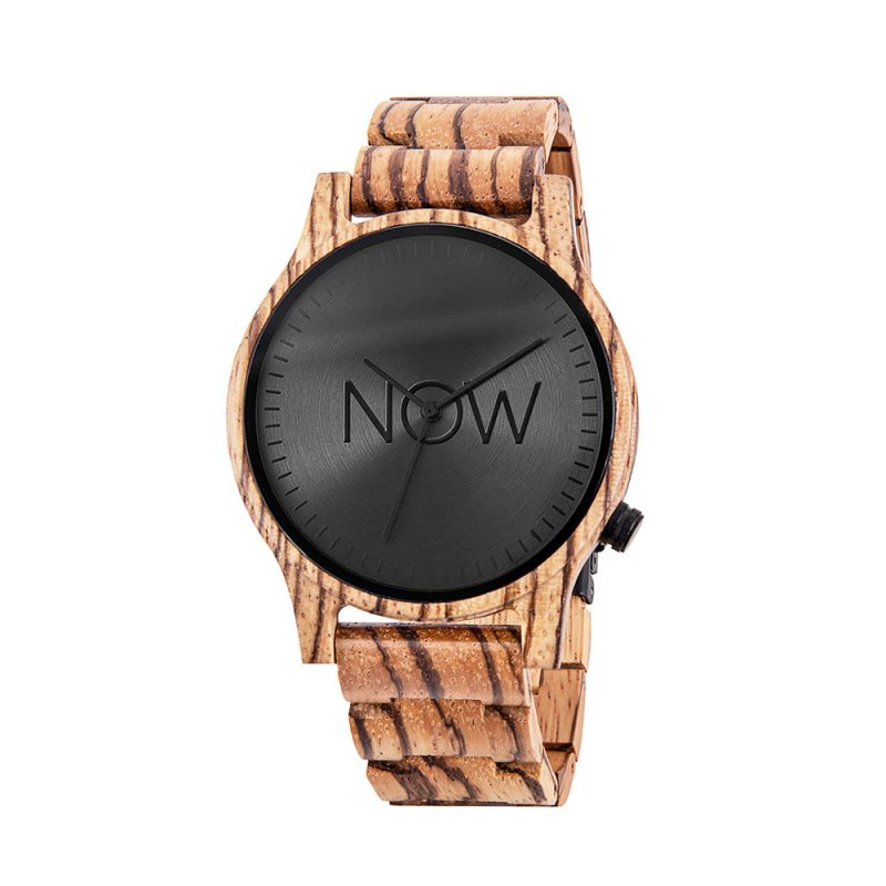 Wooden Now Watch - Zebrawood Women's