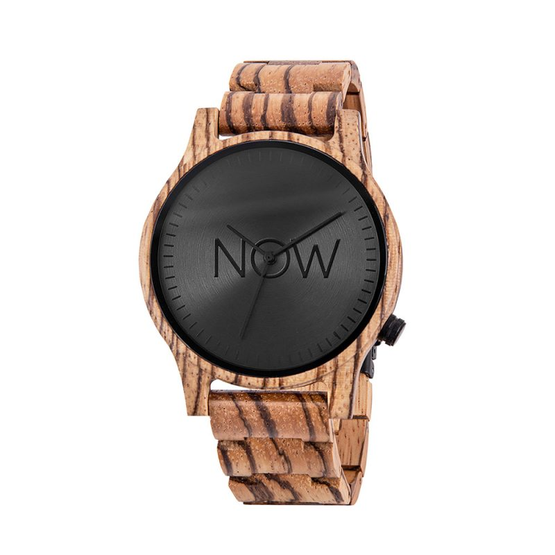 Wooden Now Watch - Zebrawood Wood woman's watch