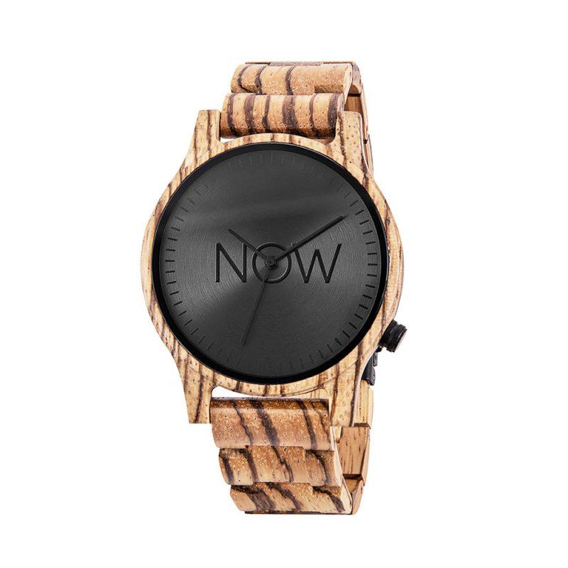 Wooden Now Watch - Zebrawood - women's