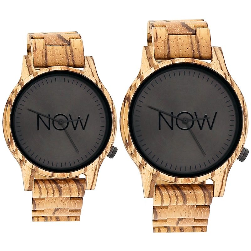 2 Wooden NOW Watches - Zebrawood - men's and women's