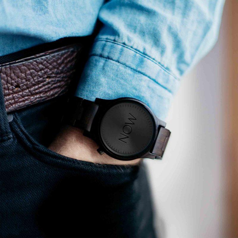 Woodden NOW watch - not real watch - black Sandalwood