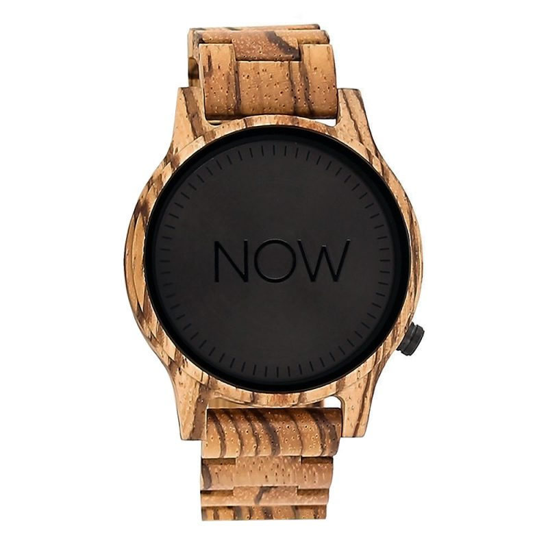 Wooden NOW Watch - Zebrawood - Men's watch - not real watch